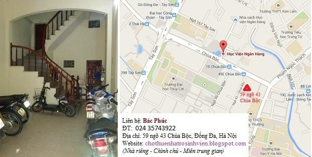 Cho thuê phòng trọ, nhà trọ gần Học viện ngân hàng, Đại học y, Thủy lợi, Công đoàn, phố Chùa bộc