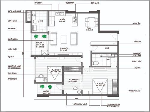 Tư vấn cải tạo căn hộ 79m2 có thêm phòng làm việc